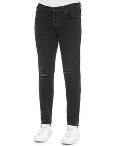Five-Pocket Distressed Skinny Jeans, Black, Size: 38 - Rag & Bone