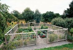 A graceful, tall fence keeps deer out of this edible garden in the country