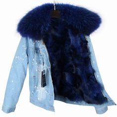 Real Fox Fur Lining Denim Jacket Coat Women Winter Coat Jacket Denim, 6 / S Denim Jacket With Fur, Fur Collar Jacket, Denim Coat, Love Clothing, Fur Fashion, Style Fashion, Military Fashion, Military Style, Tumblr Outfits