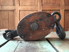 Vintage Wood Pulley, Industrial Pulley, Antique Barn Pulley Wheel, Boston & Lockport Block Co.