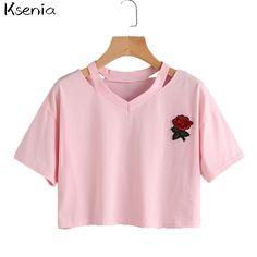 >> Click to Buy << Ksenia 2017  Women Short T Shirt Cotton Embroidery Rose V-Neck Fashion Summer Female T-Shirt Top Ladies Tee balr shirt #Affiliate