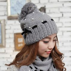 Bow knit beanie hat for girls large hairball winter hats