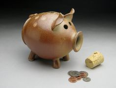 Wood Fired Ceramic Piggy Bank - Michèle Hastings on Etsy, $50.00