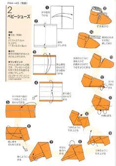 zapatito en origami para bebe, es solo una representación de el, pero es muy mono y fácil de hacer