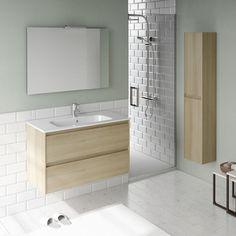 WS Bath Collections Ambra Single Bathroom Vanity Set Column and Mirror Base Finish: Nordic Oak Bathroom Vanity Units, Wall Hung Vanity, Vanity Set With Mirror, Single Bathroom Vanity, Bathroom Furniture, Bathroom Interior, Small Bathroom, Master Bathroom, Antique Furniture