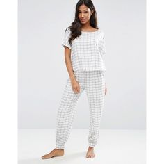ASOS Check Tee & Jogger Pyjama Set (91 SAR) ❤ liked on Polyvore featuring intimates, sleepwear, pajamas, multi, short sleeve pajamas, short sleeve pajama set and asos