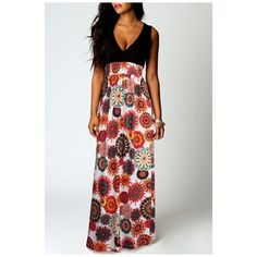 Women's Boho Empire Chevron Tank Top Casual Maxi Long Dress ($25) ❤ liked on Polyvore featuring dresses, floral maxi dress, floral print dress, colorblock dress, empire maxi dress and long floral dresses
