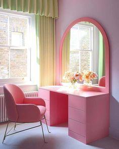 Modern All Pink Vanity Table Idea Pink Furniture, Home Furniture, Room Ideas Bedroom, Bedroom Decor, Bedroom Storage, Pastel Room, Dressing Room Design, Aesthetic Room Decor, Home Decor Accessories