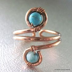 Adjustable Copper Turquoise Wire Wrap Finger Toe Ring - Lexi Butler Designs - 1