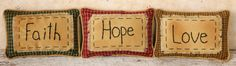 "Stitchery+-+""Faith,+Hope,+Love""+-+Pillows"
