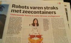 Robots varen straks met zee containers. Algemeendagblad  12 maart 2015