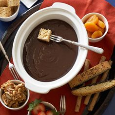 Chocolate-Caramel Fondue              Just three ingredients go into this quick dessert: sweetened condensed milk, caramel ice cream topping and chocolate. Vary your dippers to match the mood of your party.