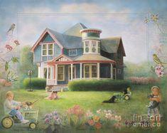 """Grandma's House Painting by Nancy Lee Moran. Winner in """"Only in America"""" contest."""