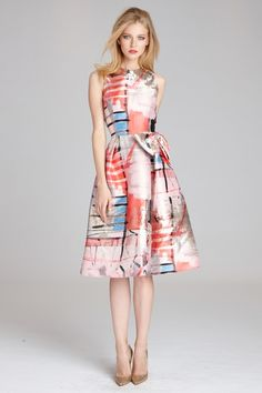 Nice Summer Wedding Guest Outfits See More Printed Gazar Bow Waist Dress