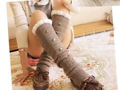 Fashion Women Autumn Winter Cotton Warm Knee Crochet by KnitGloves, $9.99