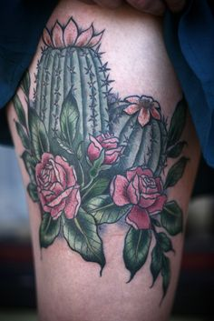 cactus and rose #tattoo by #alicecarrier at anatomy tattoo in portland oregon this is perfect! I want a cactus tattoo!