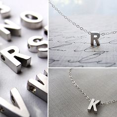 Silver Capital Letter Initial Pendant Jewelry