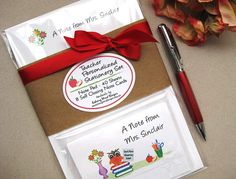 """Personalized Teacher Stationery Gift Set Mrs.Owl  Notepad 5.5 x 8.5"""", Note Cards set of 8"""
