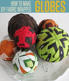 DIY Scrap Fabric Covered Styrofoam Balls | Modern Decor Ideas | diyready.com