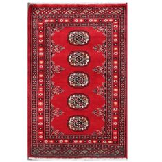 Herat Oriental Pakistani Hand-knotted Tribal Bokhara Red/ Rug