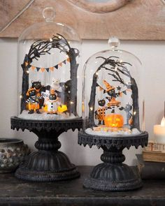 Trick or Treat LED Halloween Cloches, Set of 2 Halloween Cloche, Halloween Diorama, Halloween News, Retro Halloween, Halloween Festival, Halloween Season, Spooky Halloween, Holidays Halloween, Halloween Crafts