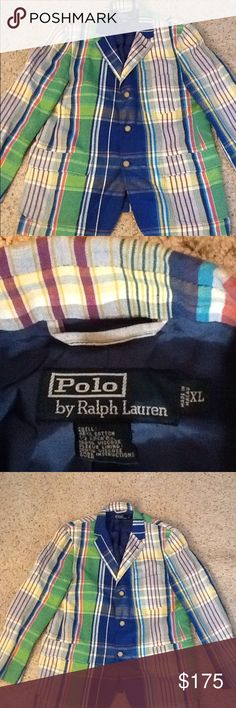 POLO RALPH LAUREN MADRAS SPORT COAT JACKET, NWOT NWOT Polo Ralph Lauren mens sz XL, linen blend three button sport coat.  Amazing madras plaid multicolor pattern.  Just in time for Spring.  Gorgeous jacket!  Will ship right away.  Check out my other designer items Polo by Ralph Lauren Suits & Blazers Sport Coats & Blazers