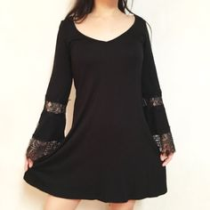 For Sale: Flared Lace Sleeves Boho Dress for $25