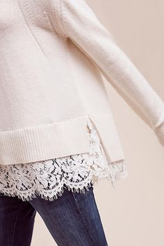 New Ideas Womens Fashion Fall Boho Sweaters Diy Fashion, Fashion Outfits, Womens Fashion, Fashion Design, Lace Sweater, Inspiration Mode, Diy Clothes, Style Clothes, Refashion