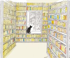 Sempe Cat in Library