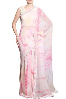 Tie And Dye Saree With Separate Flower Broach by Divya Kanakia, Sarees