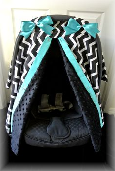 MINKY, carseat canopy, car seat cover, black, teal, chevron, polka dots, bows, baby car seat, infant girl, baby girl, baby boy, infant boy