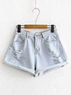 SheIn offers Ripped Detail Rolled Hem Denim Shorts & more to fit your fashionable needs. Ripped Jean Shorts, Blue Jean Shorts, Blue Denim, Daisy Shorts, Destroyed Jeans, Latest Street Fashion, Distressed Denim Shorts, Outfit Combinations, Rolled Hem