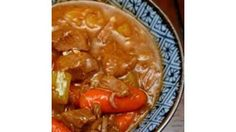 Cubes of venison stew meat are browned with onions and garlic and combined with Worcestershire sauce, oregano and covered with water in this stew with chunks of carrots and potatoes.