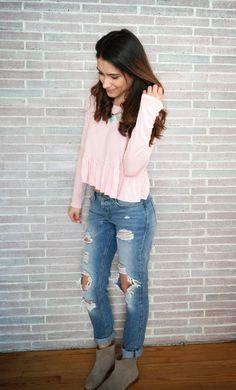 Blush Pink  Boyfriend Jeans