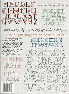 Cross stitch and embroidered alphabet Cross Stitch Letter Patterns, Cross Stitch Letters, Just Cross Stitch, Cross Stitch Baby, Cross Stitch Flowers, Cross Stitch Kits, Cross Stitch Charts, Stitch Patterns, Blackwork Embroidery