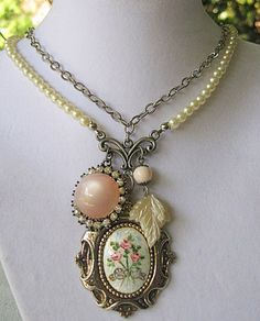 Vintage Silver Guilloche Enamel Pink Floral Pendant/Pearl Necklace   TimelessDesigns - Jewelry on ArtFire