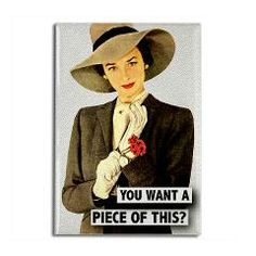 You Want A Piece Of This Rectangle Magnet > Funny Fridge Magnets > Cafe Pretzel T-Shirts & Gifts #funny #fridge #magnet