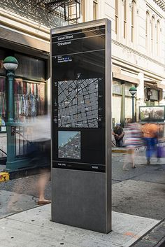 NYC Wayfinding     The kiosks present two maps, one of local streets and the other of the area's location in relation to a larger section of the city.