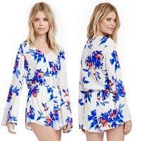 Wish | Sexy Vintage Women Floral Print Long Sleeve Chiffon Ladies Jumpsuit Beach Sun Dress