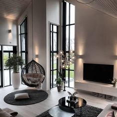 Beautiful Scandi Living Room by . - Home Design Inspiration Scandi Living Room, Home Living Room, Interior Design Living Room, Interior Livingroom, Cozy Living, Modern Home Interior, Interior Ideas, Living Room Decor Elegant, Black Interior Design
