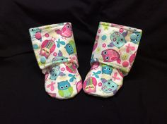 A personal favorite from my Etsy shop https://www.etsy.com/listing/294108861/owl-pink-and-blue-booties-12-18-months
