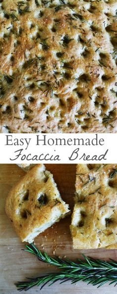 A recipe for easy, homemade focaccia bread bursting with the delicious salty, herbed, and olive-oil induced flavors that it's known for! via MonPetitFour.com
