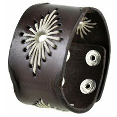 Nemesis Brown Diamond-stitched Leather Cuff Bracelet