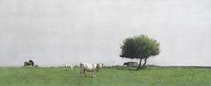 Marzio Tamer, Contrada costa, watercolor and dry brush, cm 38 x 96 www.salamongallery.com | #realism #landscape #nature #figurative #contemporary #art