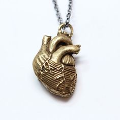 Bronze Anatomical Heart Necklace  bronze-plated, antique finish  Made in NYC  i want this kind of pendant!