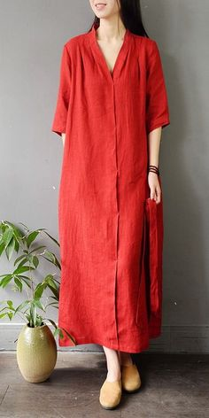 <img> Vintage Pure Color Drawing Linen Maxi Dresses For Women - Linen Dresses, Women's Dresses, Fashion Dresses, Vintage Long Dress, Vintage Dresses, Linen Dress Pattern, Linen Tunic, Maxi Dress Wedding, Dress Drawing