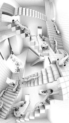 M. C. Escher: Casa de las Escaleras-1951