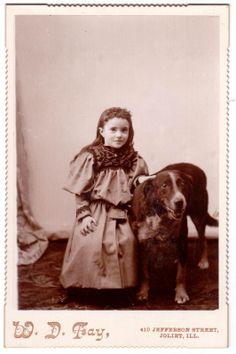 Antique 1890 Cabinet Photo Little Victorian Girl Her Dog w D Fay Joliet Ill | eBay