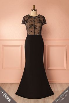 Mecca Black Lace Bodice Plus Size Mermaid Gown   Boutique 1861 https://1861.ca/products/mecca