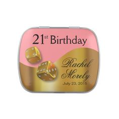 Las Vegas Dice Swoop 21st Birthday gold pink Jelly Belly Tin